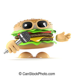 3d DJ Burger - 3d render of a burger singing into a...