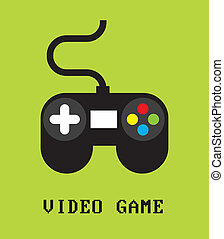 Videogame design over green background, vector illustration