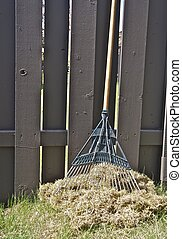 Spring Yard Work - A wooden rake rests against a wooden...