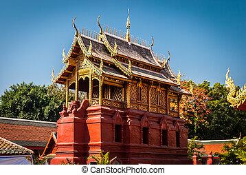 Temple - Building by Wat Hari Phun Chai at Lamphun province...