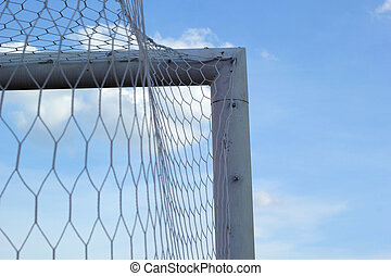 Goal football - soccer nets with blue sky