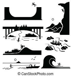 Extreme Sports Pictogram Set 3 - A set of human pictogram...