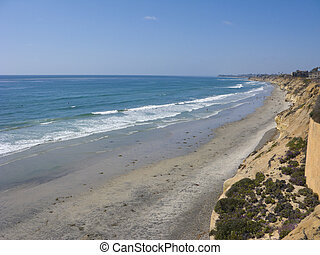 Azure Shore of Solana Beach, CA - Azure Pacific Waters and...