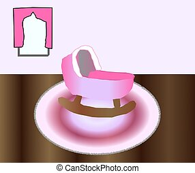 Pink Baby Room - A pink baby cradle sitting on a pink rug on...