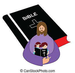 Reading bible - Little boy and girl reading bible