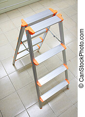 stepladder - orange aluminum folding ladder, stepladder on...