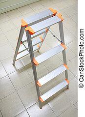 stepladder - orange aluminum folding ladder, stepladder on...