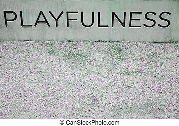 playfulness sign - word playfulness on concrete