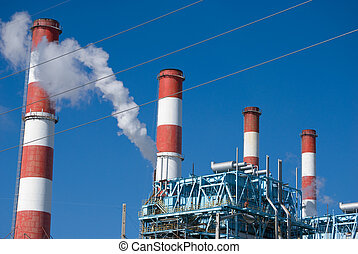 Refinery Smoke Stacks - Refinery smoke stacks in an oil...