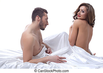 Beautiful young woman flirting with partner