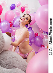 Lovely young woman posing with balloons - Image of lovely...