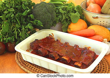 Pork Ribs with Steamed Vegetables Gourmet Dish
