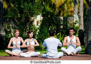 Yoga Class - A group of four adults practicing yoga outdoors