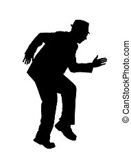Silhouette of a Man Sneaking - Silhouette of a man in a suit...