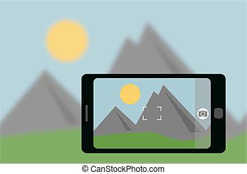 Camera phone taking photo of landscape - illustration