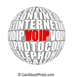 Voice over IP - circle words on the ball on the topics