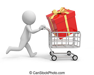 Gift box - A 3d person/a gift box  in the shopping cart