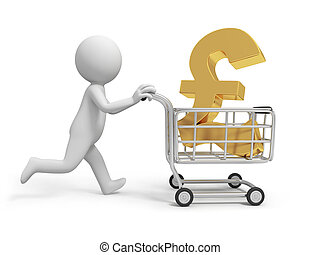 money - A 3d person/ a money symbol in the shopping cart