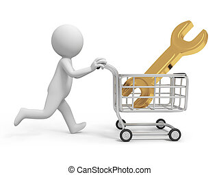 spanner - A 3d person/ a spanner in the shopping cart