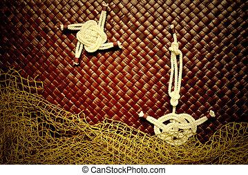 sailing ship - Sailing ship sailors knots made in grunge...