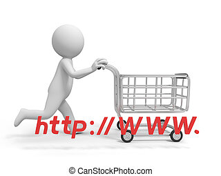 Online shopping - A 3d person a shopping cartonline shopping...