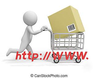 Online shopping - A 3d person/ a shopping cart/online...
