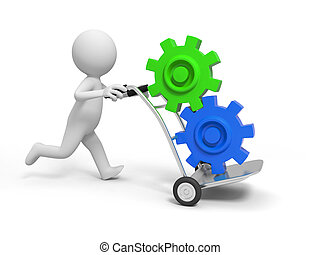 gear - A 3d person pushing a cart/gears in the cart