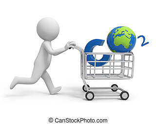 global - A 3d person pushing a cart/ a global in the cart