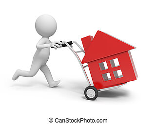 house - A 3d person pushing a cart/ a house in the cart