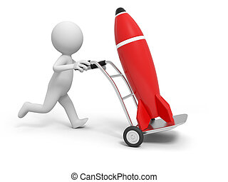 rocket - A 3d person pushing a cart/a rocket in the cart