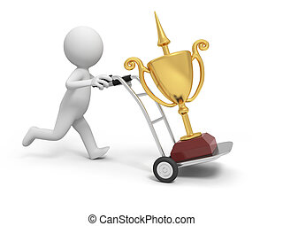 trophy - A 3d person pushing a cart/a trophy  in the cart