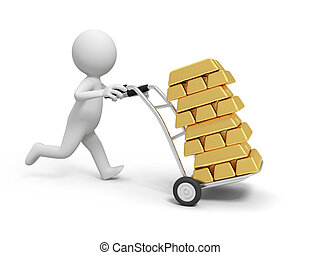 Gold bars - A 3d person pushing a cart/ gold bars in the...