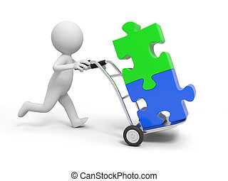 puzzles - A 3d person pushing a cart/ puzzles in the cart