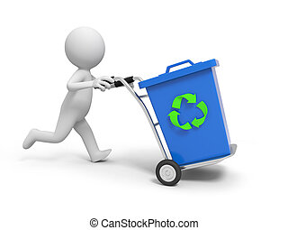 Trash can - A 3d person pushing a cart/a trash can in the...