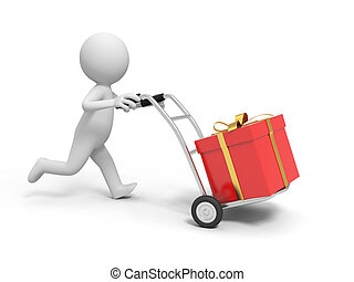 Gift box - A 3d person pushing a cart/ a gift box in the...