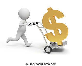 dollar - A 3d person pushing a cart/ a dollar symbol in the...