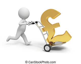 money - A 3d person pushing a cart/ a money symbol in the...