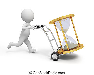 hourglass - A 3d person pushing a cart/ an hourglass in the...
