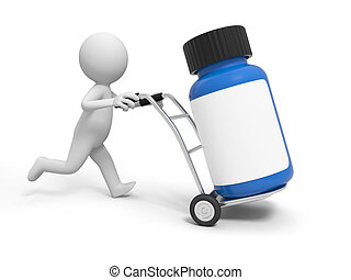 bottle - A 3d person pushing a cart/ a bottle in the cart
