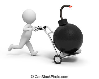 bomb - A 3d person pushing a cart/ a bomb in the cart