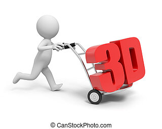 3d word - A 3d person pushing a cart/ a 3d word in the cart