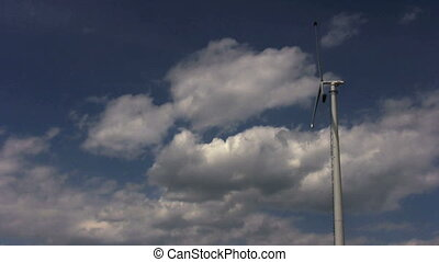 windmill - footage of single windmill against blue sky