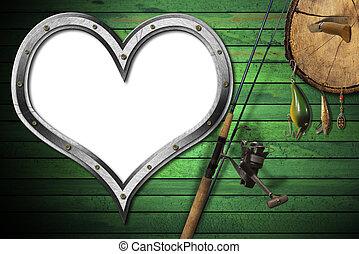 Love Fishing Tackle - Empty metal porthole heart shape on...