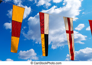 Nautical Flags on a Blue Sky 098 - Three nautical flags...