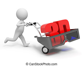 3d glasses - A 3d person pushing a cart/ a 3d glasses in the...