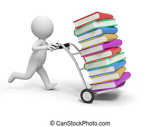 books - A 3d person pushing a cart/some books  in the cart