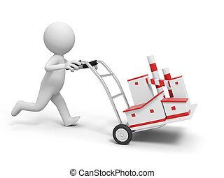 factory - A 3d person pushing a cart/a factory model in the...