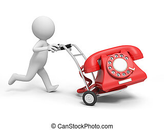 telephone - A 3d person pushing a cart/a telephone in the...