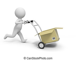 box - A 3d person pushing a cart/a box in the cart