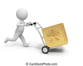 safe - A 3d person pushing a cart/ a safe in the cart